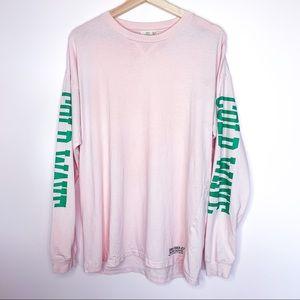 Aritzia TNA Cold Wave Baby Pink Long Sleeve Shirt